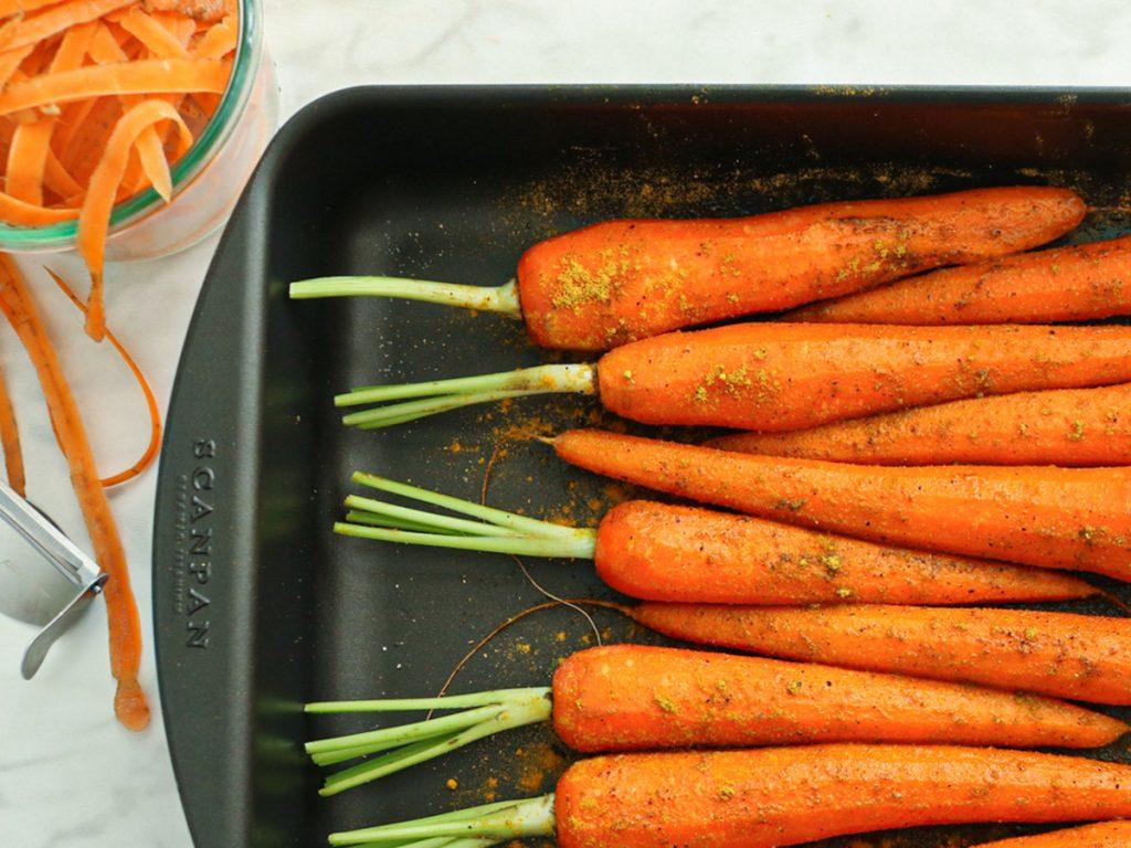Recept voor het roosteren van wortels of bospeen in de oven